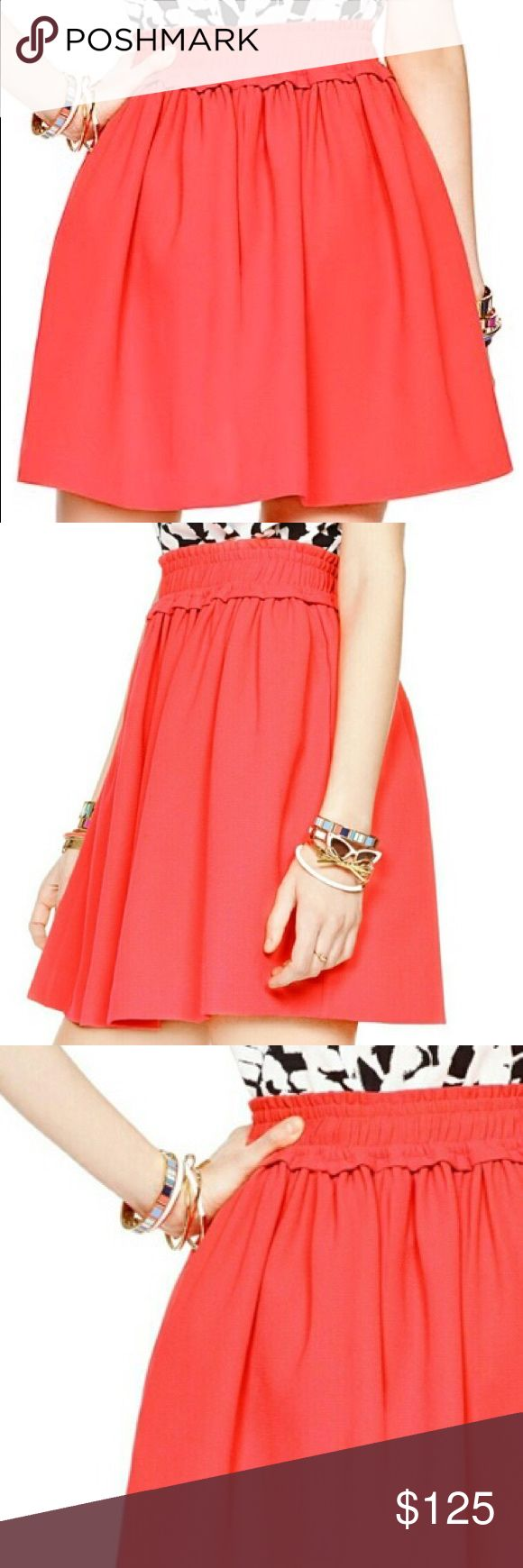 kate spade ♠️ cute bright gathered full skirt brand new with tag kate spade ♠️ New York super cute crepe gathered full skirt in geranium color (bright coral/pink).  Very girly style, with wide elastic waist and slit pocket on each side. Perfect for the holiday party or going out ♠️😍 kate spade Skirts A-Line or Full