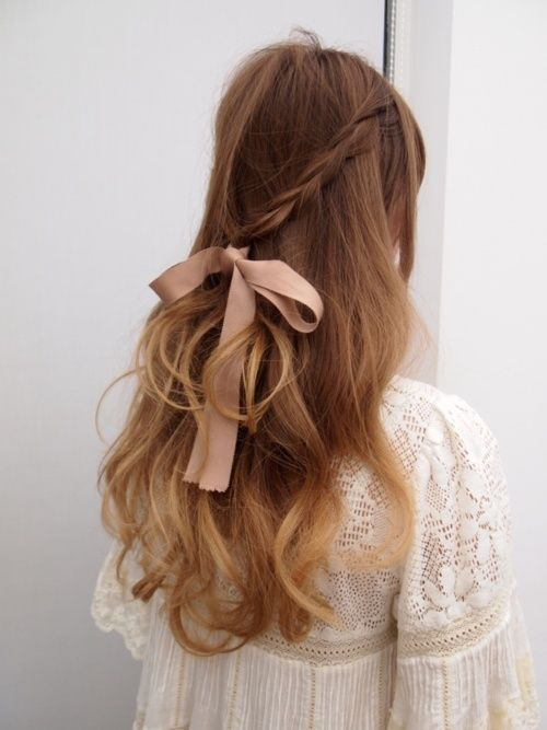 Soft ombre curls all wrapped up with a ribbon and a braid #hairstyles