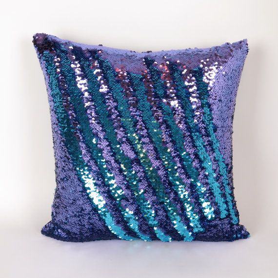 Decorative Pillows With Sequins : Mermaid Pillow - Purple and Turquoise Reversible Sequin Cushion Throw Pillow Cover, lumbar, euro ...