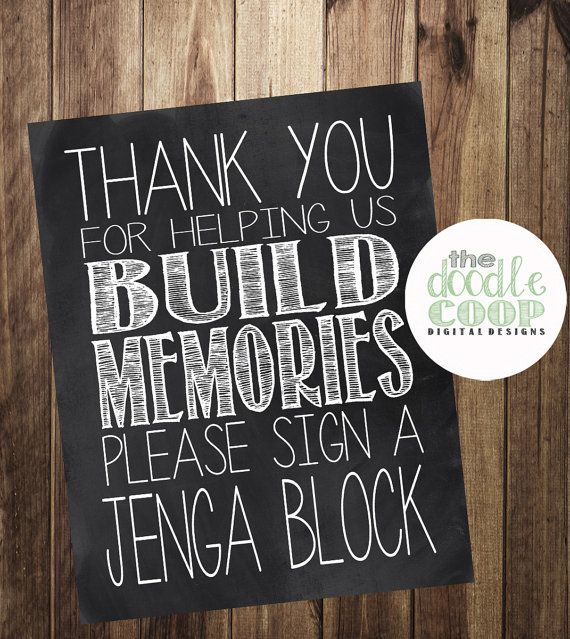 Please Sign a Jenga Block Build Memories Guest by TheDoodleCoop, $5.00