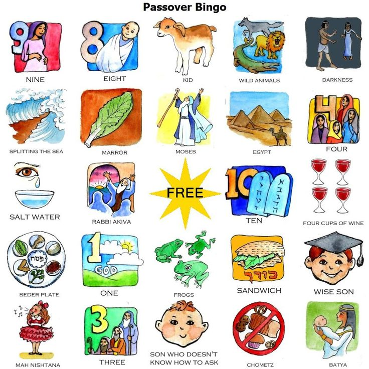 Passover bingo game for the holiday and seder get for Passover crafts for sunday school