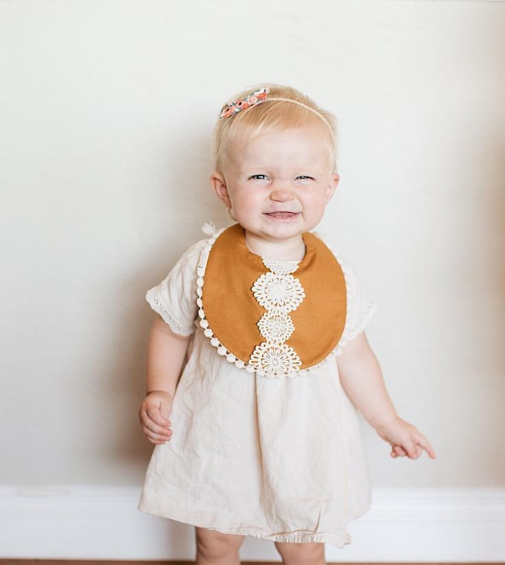 Little girl dress and pretty drool bib from www.billybibs.com