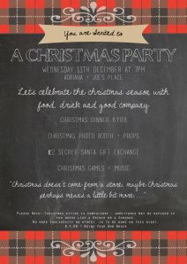 Christmas Party Invite - Free Template Chalk Board, Tartan