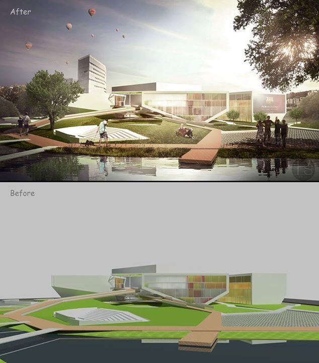 Photoshop architectural Vizualisation – Before & After