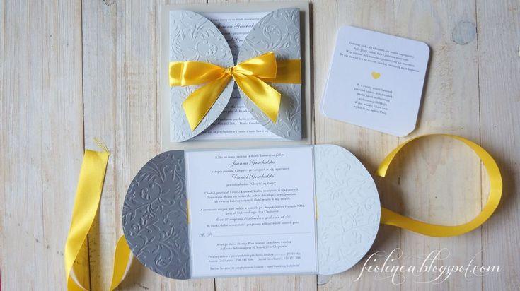 Fiolinea - Ślubna Galanteria Papiernicza: Wiosenne szaro-żółte zaproszenia ślubne