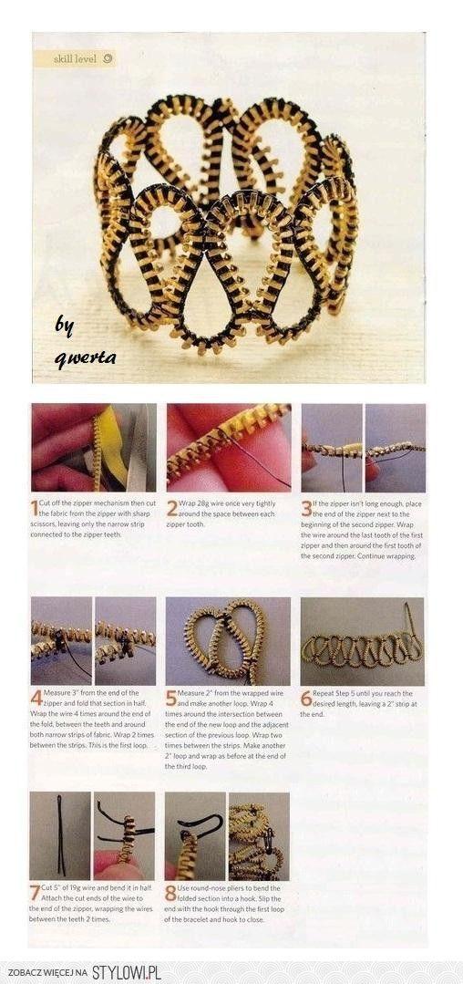 12 DIY Zipper Bracelet Ideas                                                                                                                                                      More