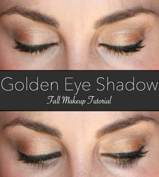 Golden eye shadow makeup tutorial, perfect for fall!