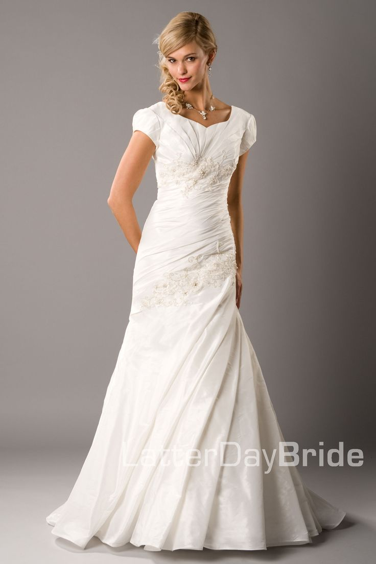 Modest wedding dress claudette latterdaybride prom for Mormon temple wedding dresses