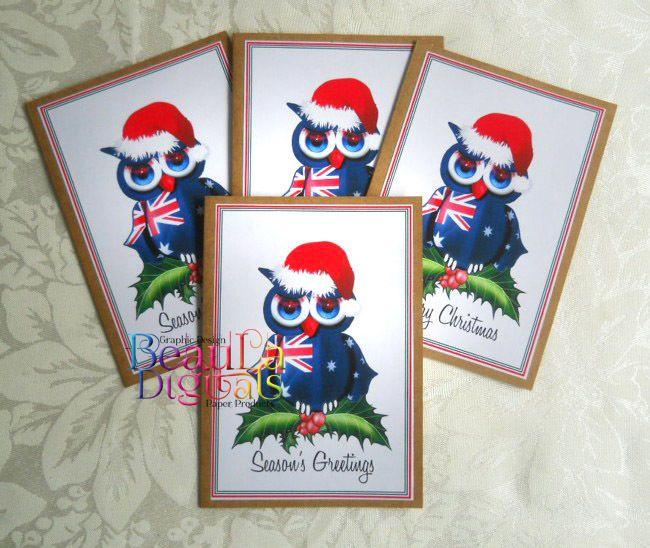 Christmas Aussie Owl Hand Drawn Owl Greeting Card - Christmas Card