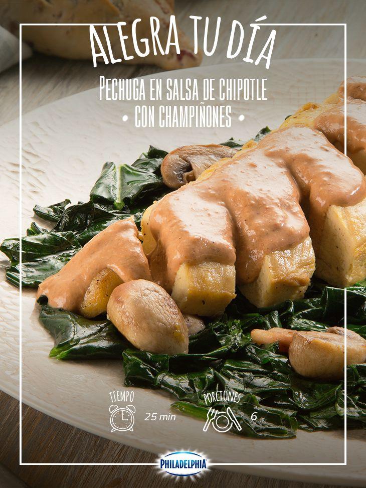 Alegra el día de las personas que te rodean con esta Pechuga en salsa de chipotle con champiñones.