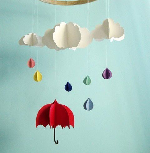 Paper cloud, rain-drops and umbrella hanging from the ceiling