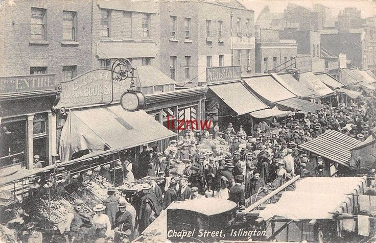 N LONDON ISLINGTON CHAPEL STREET OPEN AIR MARKET STALLS CROWDS c.1904