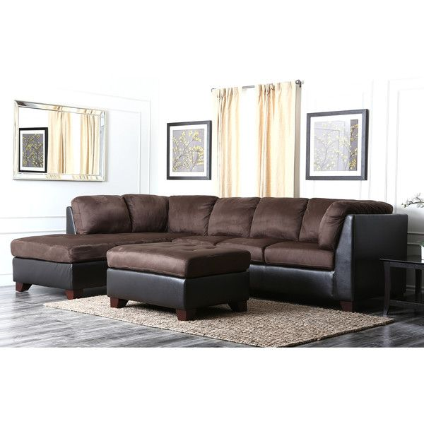 Awesome Abbyson Living Charlotte Dark Brown Sectional Sofa And Ottoman ($1,275) ❤  Liked On Polyvore