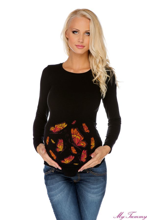 Bluzka ciążowa Motyle czarne