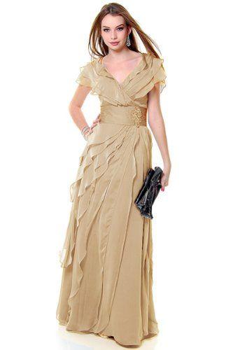Mother of the Bride Formal Evening Dress #831 (Medium, Beige) US Fairytailes