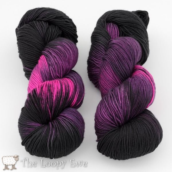Morticia in Socks that Rock Mediumweight from Blue Moon Fiber Arts at The Loopy Ewe ($26.00)