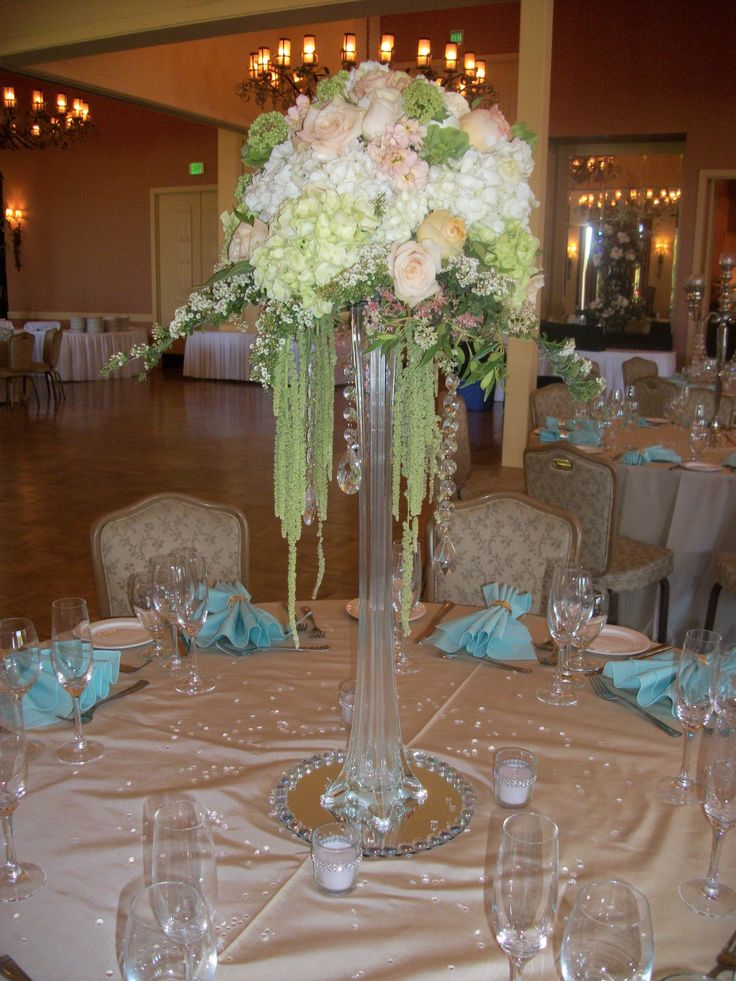 Eiffel Tower Centerpiece With Crystals Roses Hydrangea Hanging Amaranthus Vibernium