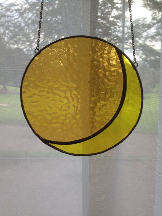 Yellow Moon Gorgeous Stained Glass Suncatcher  by pewtermoonsilver