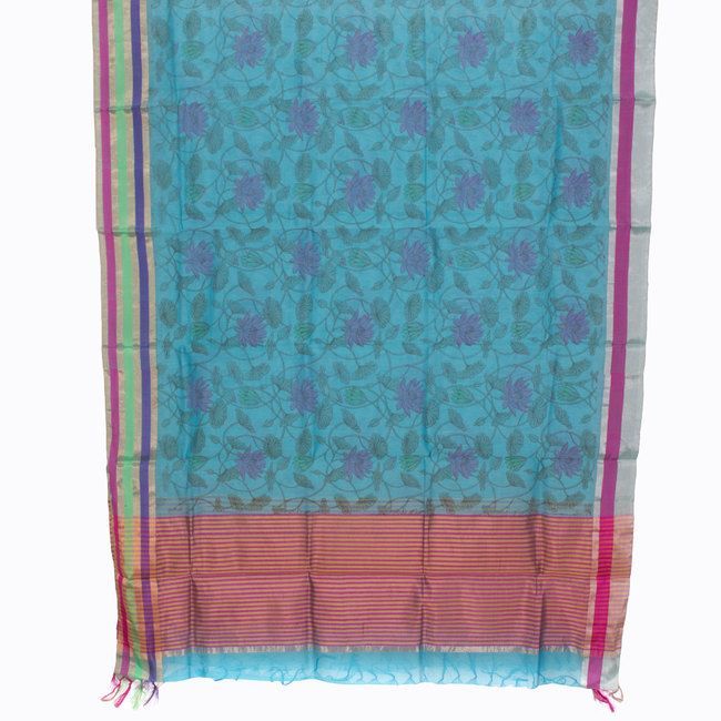 Marm Handprinted Chanderi Silk Cotton Dupatta 10000363 - AVISHYA.COM