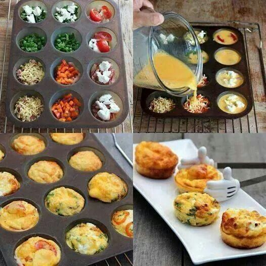 Egg muffins Preheat oven to 200. Place whatever ingredients that would would like to have in it. Mix 6 beaten eggs and 2 tbsp of milk together with salt and pepper to taste. Place in oven for 20-25 min
