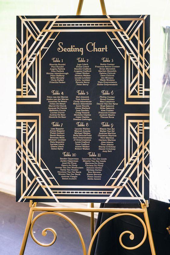 Gatsby inspired seating chart - photo by Carla Atley Photography http://ruffledblog.com/glam-gatsby-inspired-wedding-in-perth: