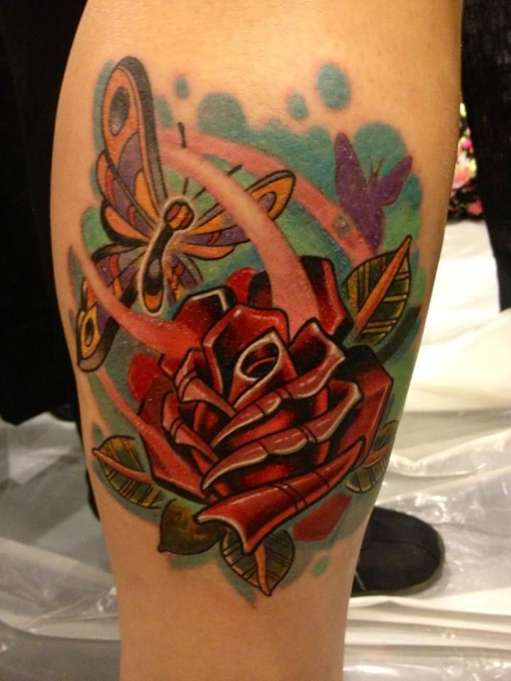 Rose and Butterfly Tattoo - Tylor Schwarz http://tattoosflower.com/rose-and-butterfly-tattoo-tylor-schwarz/