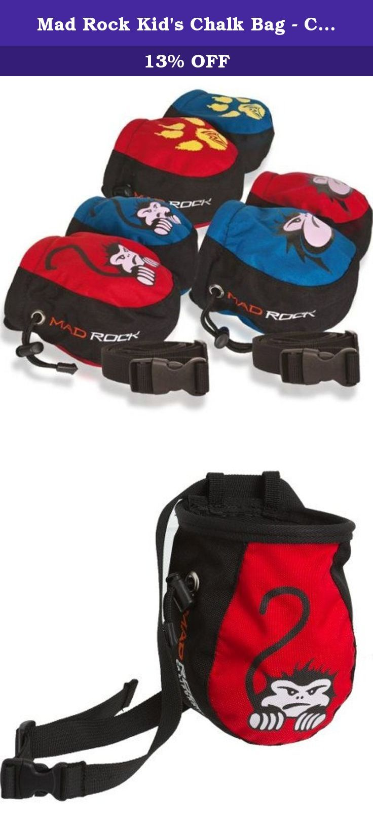Mad Rock Kid's Chalk Bag - Crouching Monkey Red. Sized smaller than the Koala, the Kid's Chalk Bag is the perfect accessory for the little ones. Available in three different playful designs of Crouching Monkey, Paws, and Mad Face.
