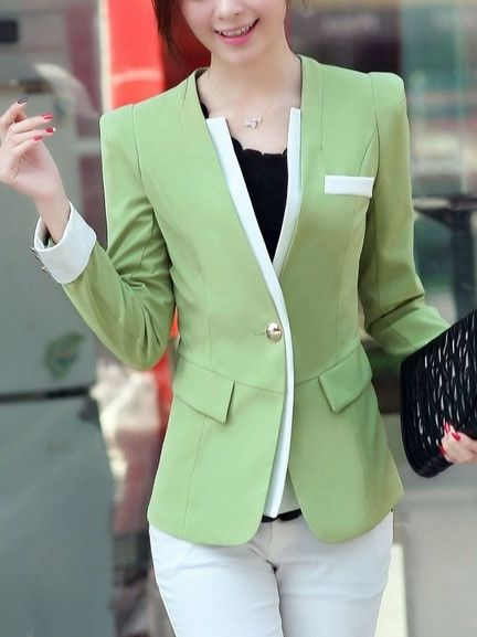 Elegant Collarless Assorted Color Blazer | fashionmia.com