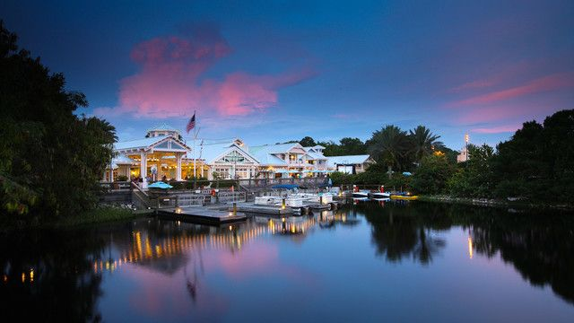 The marina at Disney's Old Key West Resort offers ample opportunities for aquatic recreation, with canoes, pontoon boats, pedal boats and more available for rent.