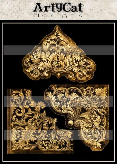 Absolute elegance for decorating altered art, digital collages, or printable for a scrapbooking embellishments, a downloadable image sheet with baroque stylish corner flourishes. Antiqued golden brass colored, very detailed and ornate in vintage patterns from the 1800's.  #flourishes #downloads #digitalimages #AlteredArtSupplies #corners