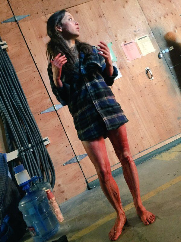 Stella Maeve all bloodied up on the set of #TheMagicians (via HDalhousie on Twitter)
