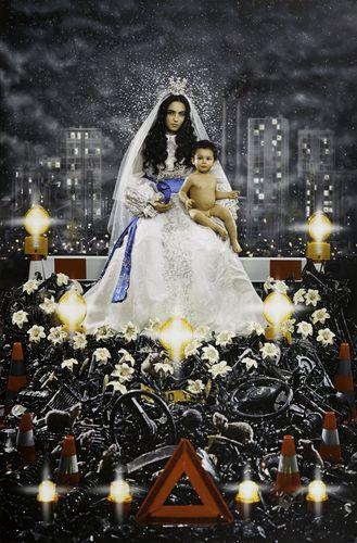 """Madonna & Child"" by Pierre et Gilles. Photographer: Pierre Commoy; Painter: Gilles Blanchard; Model: Hafsia Herzi."
