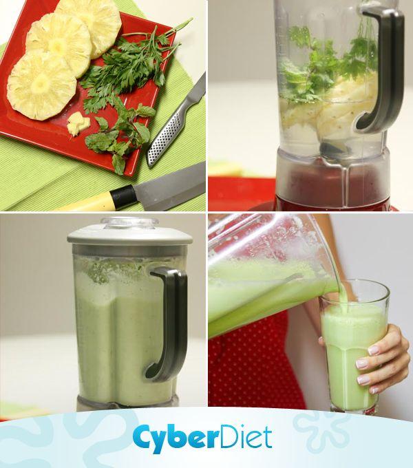 Aprenda a fazer esse delicioso suco drenante! Para 1 porção use 200 ml de água de coco, 1 fatia de abacaxi, um pouco de salsinha, hortelã e uma lasquinha de gengibre. Beba em jejum e veja a diferença nas medidas!