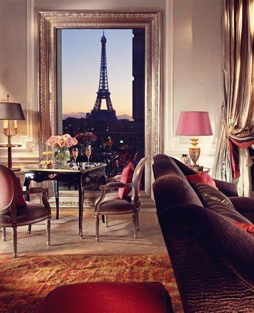 Eiffel Tower hotel room in the Plaza Athenée, Paris