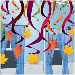 Fall Hanging Swirl Decorations- 30ct
