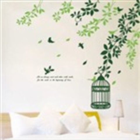Colorful Adhesive Decorative Sticker for Wall Desk Bedroom Window - Birds & Leaves Theme