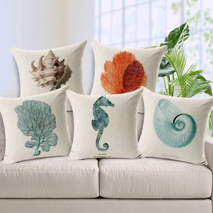Coral decorative pillows for summer decoration