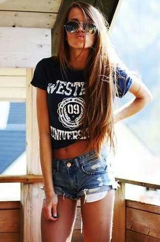 Crop Top. Teen Fashion. By-Iheartfashion14 →follow← toms2014.us | See more about beach outfits, denim shorts and hair.