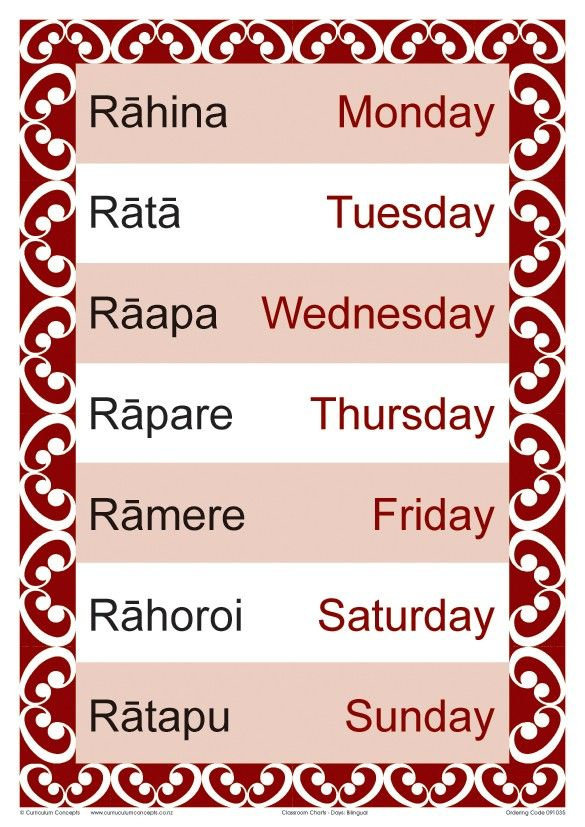 Te Reo Days of the Week.. Remember my children practicing these days of the week....