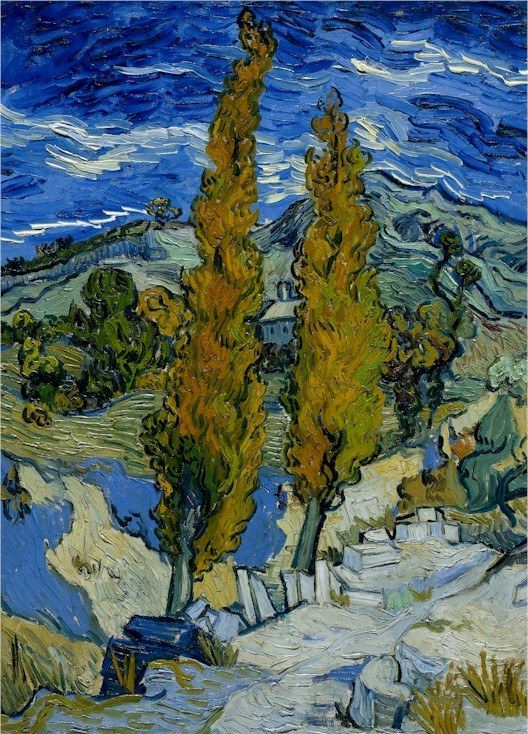 Vincent van Gogh: Two Poplars on a Road Through the Hills.  Oil on canvas.  Saint-Remy: October, 1889.  Cleveland: the Cleveland Museum of Art.