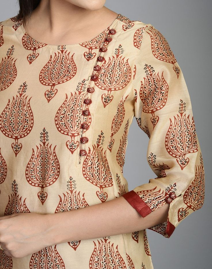 Silk Cotton Printed Awadh Neck Long Kurta: