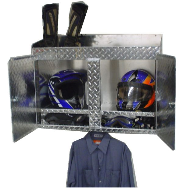 Dirt Bike Storage. Helmets Goggles And Gloves Inside. Boots On Top. Gear  Hanging