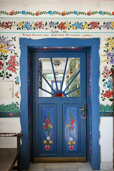Welcome.The Doors, Embroidery Pattern, Folk Art, Blue Doors, Country House, Painting Doors, Folk House, Colors Doors, Doors Art