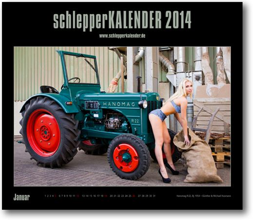 """An extraordinary calendar about oldtimer tractors and girls. It called """"schlepperKALENDER, the """"Oldtimer Traktoren Kalender"""" and is published in Germany from a small publisher, very nice! #ad"""