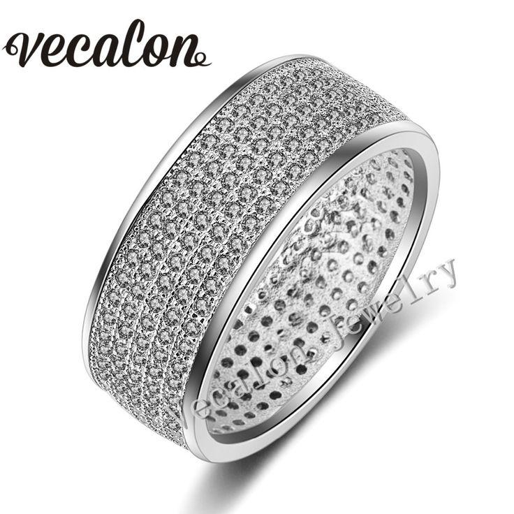 Vecalon Full 250Pcs AAAAA Zircon Cz Wedding Band Ring for Women 10KT White Gold Filled Female Engagement Band Sz 5-11