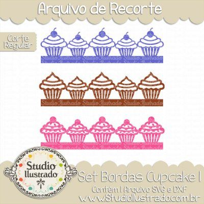 Cupcake Borders Set I, Set Bordas Cupcake I, Bolinho, Cupcake, Bolo, Morango, Chocolate, Chantilly, Doce, Açúcar, Scone, Cake, Strawberry, Chocolate, Whipped Cream, Sweet, Sugar, Blueberry, Bollo, Magdalena, Pastel, Fresa, Chocolate, Crema Batida, Dulce, Azúcar, Arandano, Feliz Aniversário, Festa, Happy Birthday, Party, Coroa, Crown, Heart, Coração, Cereja, Cherry, Cute, Fofo, Delicioso, Delicius, Corte Regular, Regular Cut, Silhouette, DXF, SVG, PNG