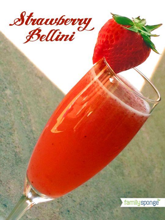 A simple twist to a mimosa - Strawberry Bellini Recipe