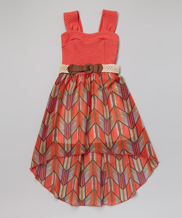 Coral Chevron Belted Hi-Low Dress by Just Kids #zulily #zulilyfinds