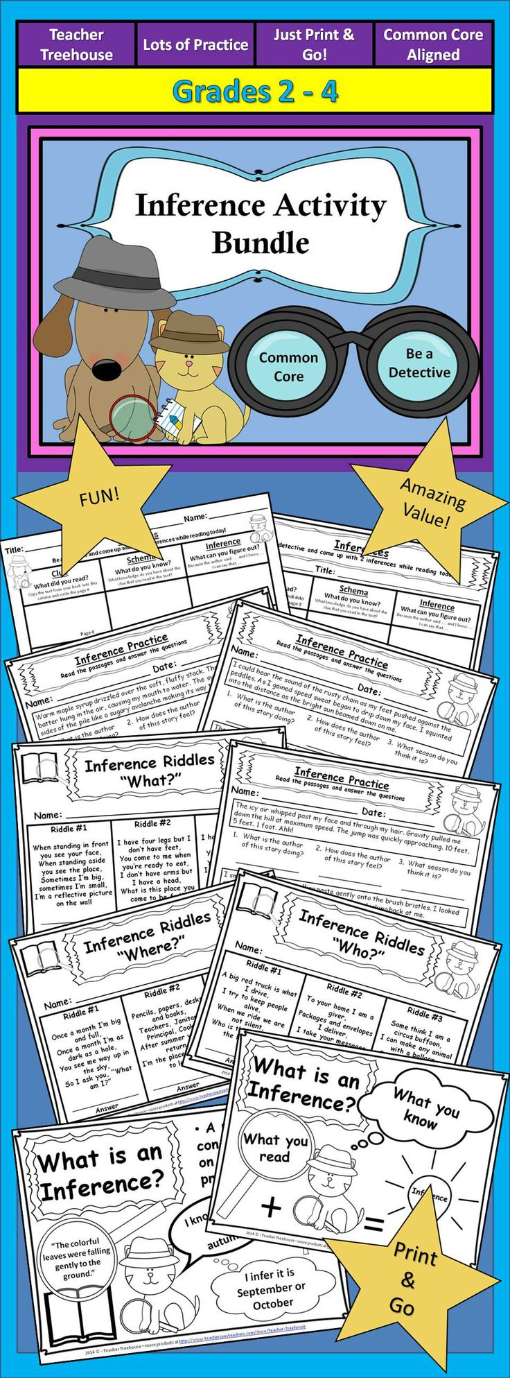 Worksheets Inferences Worksheet 2 105 best inferences and prediction images on pinterest making inference activity bundle posters riddles worksheets graphic organizers