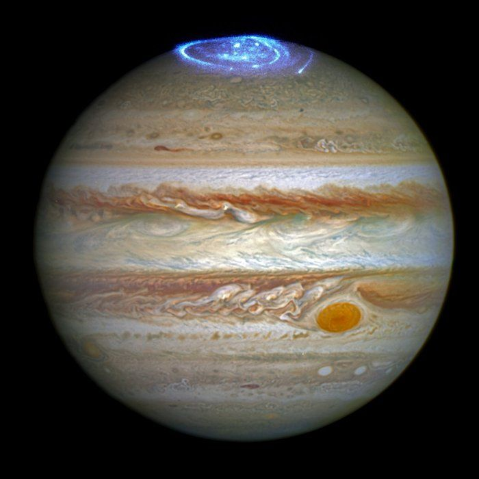 This image combines an image taken with Hubble Space Telescope in the optical (taken in spring 2014) and observations of its auroras in the ultraviolet, taken in 2016.Read more about this image: Hubble captures vivid auroras in Jupiter's atmosphere